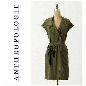 Maeve • Olive Green Silk Ida Shirt Wrap Dress